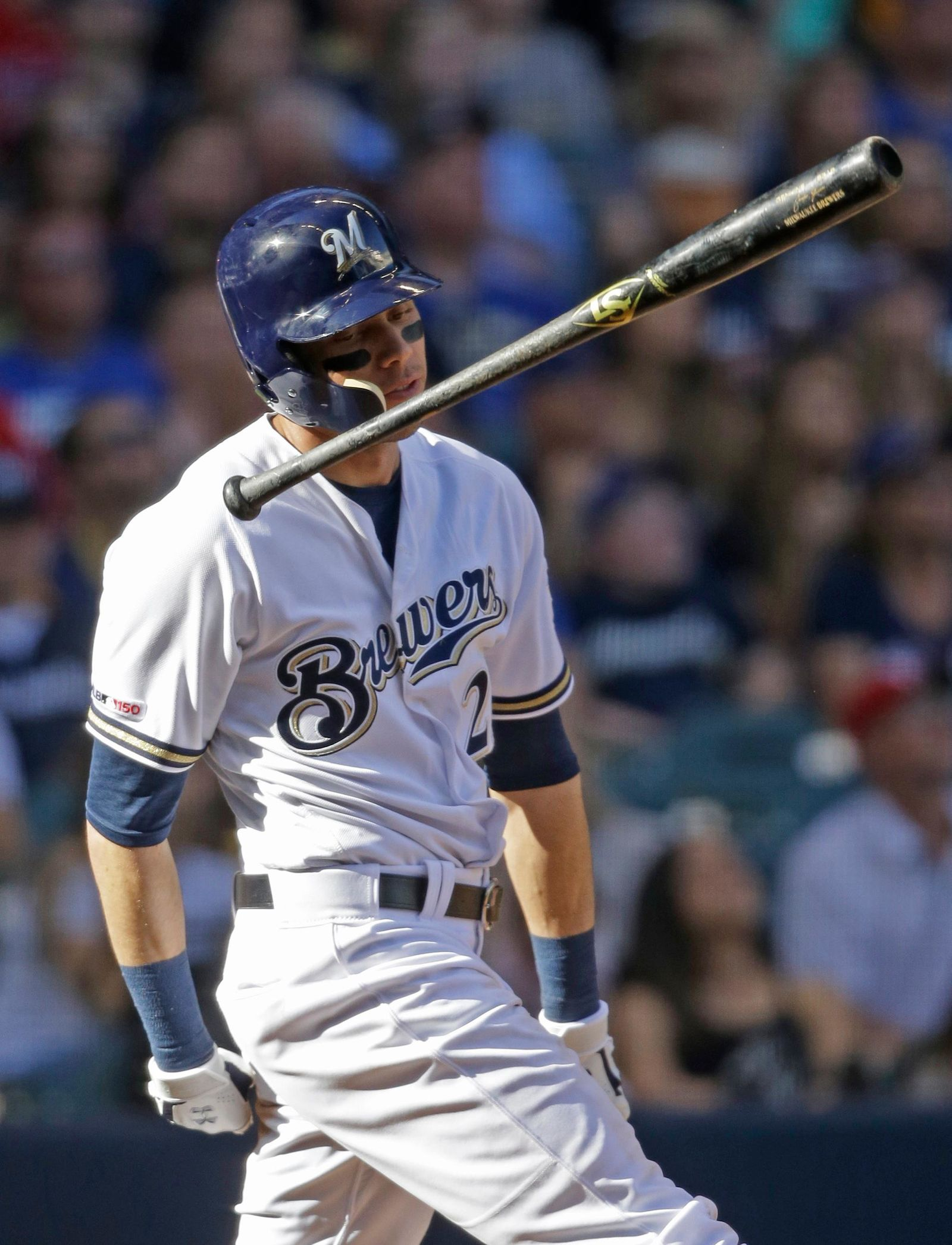 Milwaukee Brewers' Christian Yelich reacts to his fly-out during the seventh inning of a baseball game against the Philadelphia Phillies, Saturday, May 25, 2019, in Milwaukee. (AP Photo/Jeffrey Phelps)