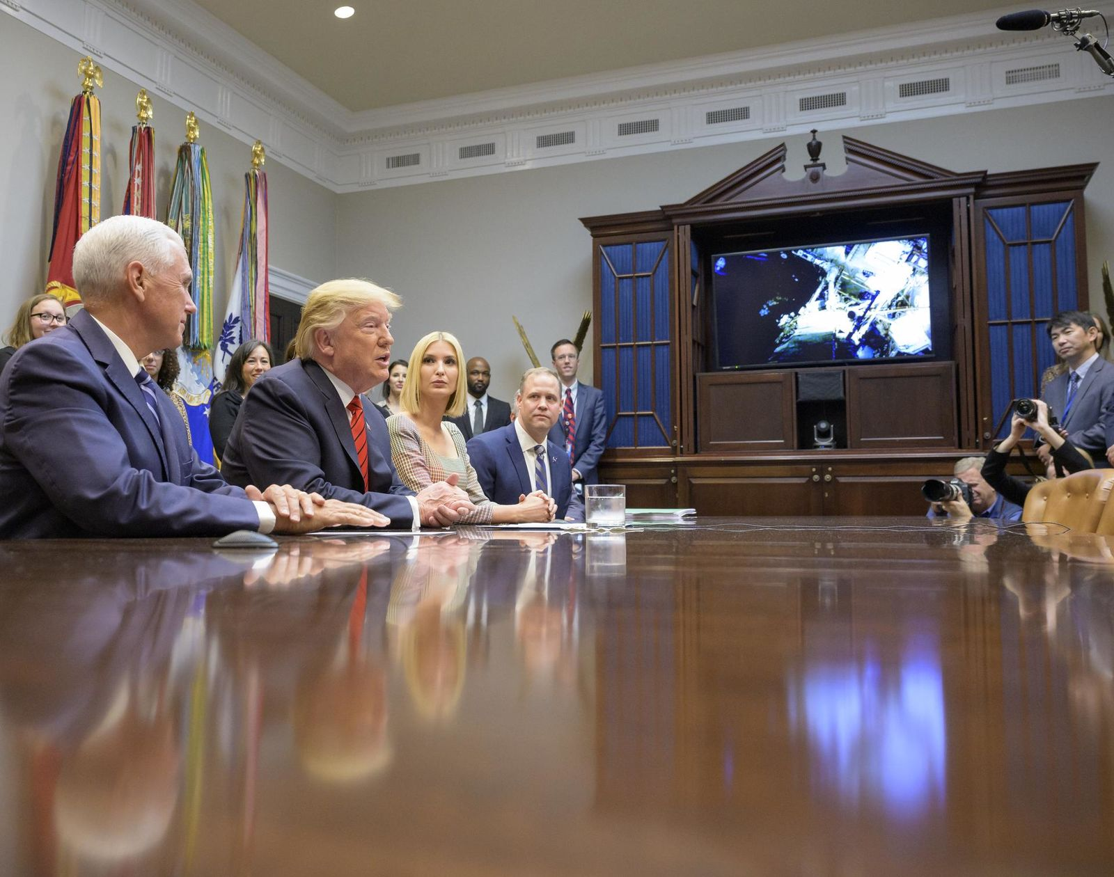 President Trump Calls Astronauts During First All-Woman Spacewalk (NASA/Bill Ingalls)