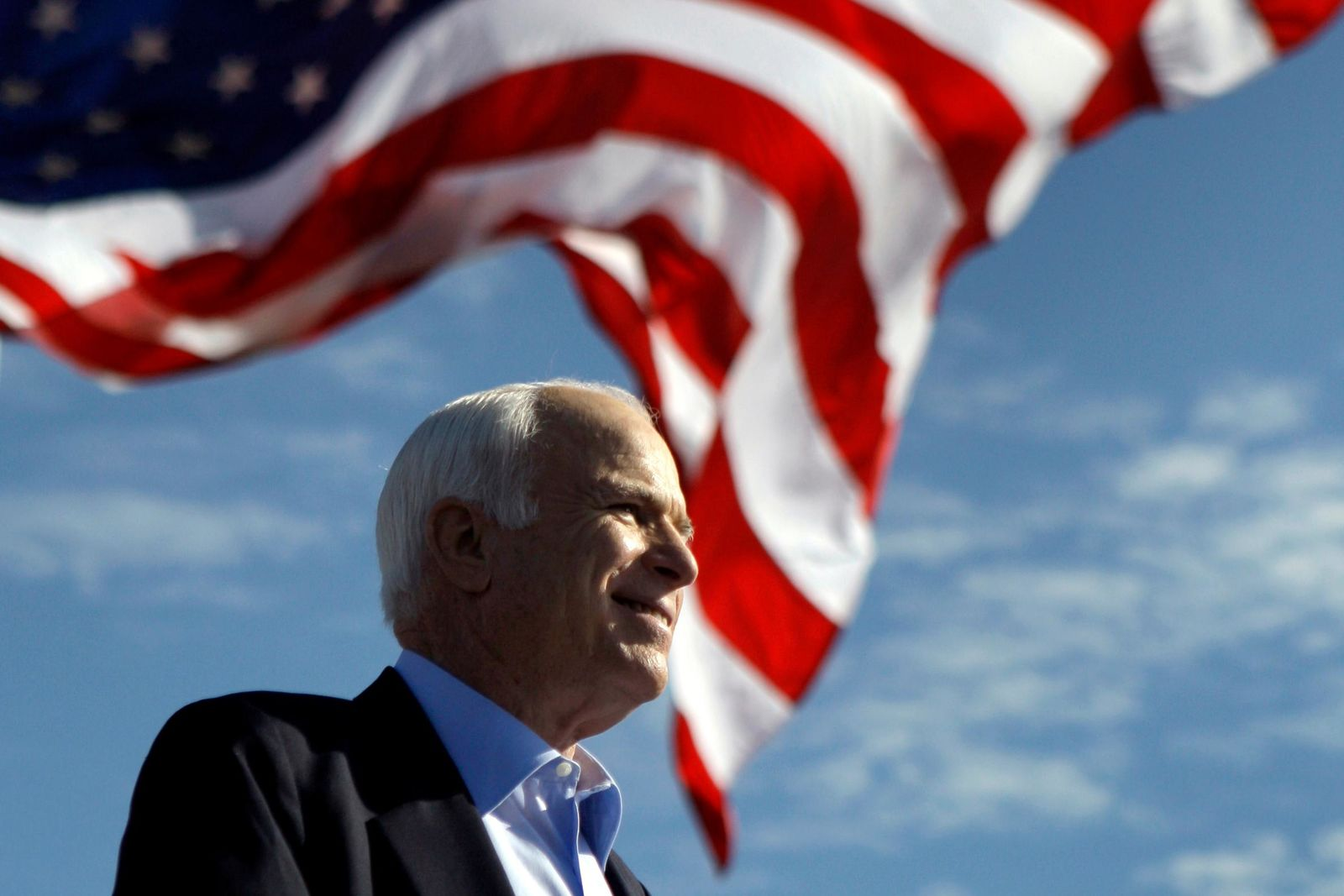 FILE - In this Nov. 3, 208 file photo, Republican presidential candidate Sen. John McCain, R-Ariz. speaks at a rally outside Raymond James Stadium in Tampa, Fla.{ } (AP Photo/Carolyn Kaster)