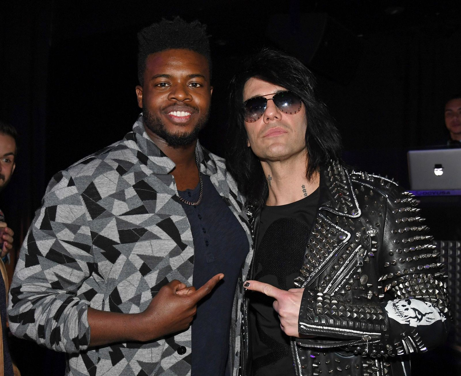 "LAS VEGAS, NEVADA - JANUARY 19:  (EDITORS NOTE: Image was digitally altered) Kevin Olusola (L) of Pentatonix and illusionist Criss Angel attend the after party for the grand opening of ""Criss Angel MINDFREAK"" at Planet Hollywood Resort & Casino on January 19, 2019 in Las Vegas, Nevada.  (Photo by Ethan Miller/Getty Images for Planet Hollywood Resort & Casino)"