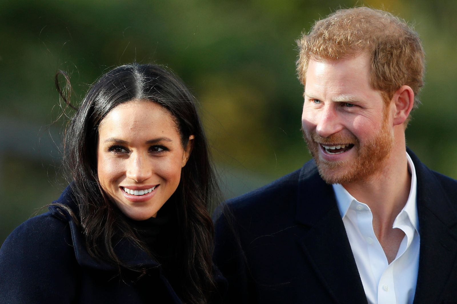FILE - In this Dec. 1, 2017 file photo, Britain's Prince Harry and his fiancee Meghan Markle arrive at Nottingham Academy in Nottingham, England.{ } (AP Photo/Frank Augstein, File)