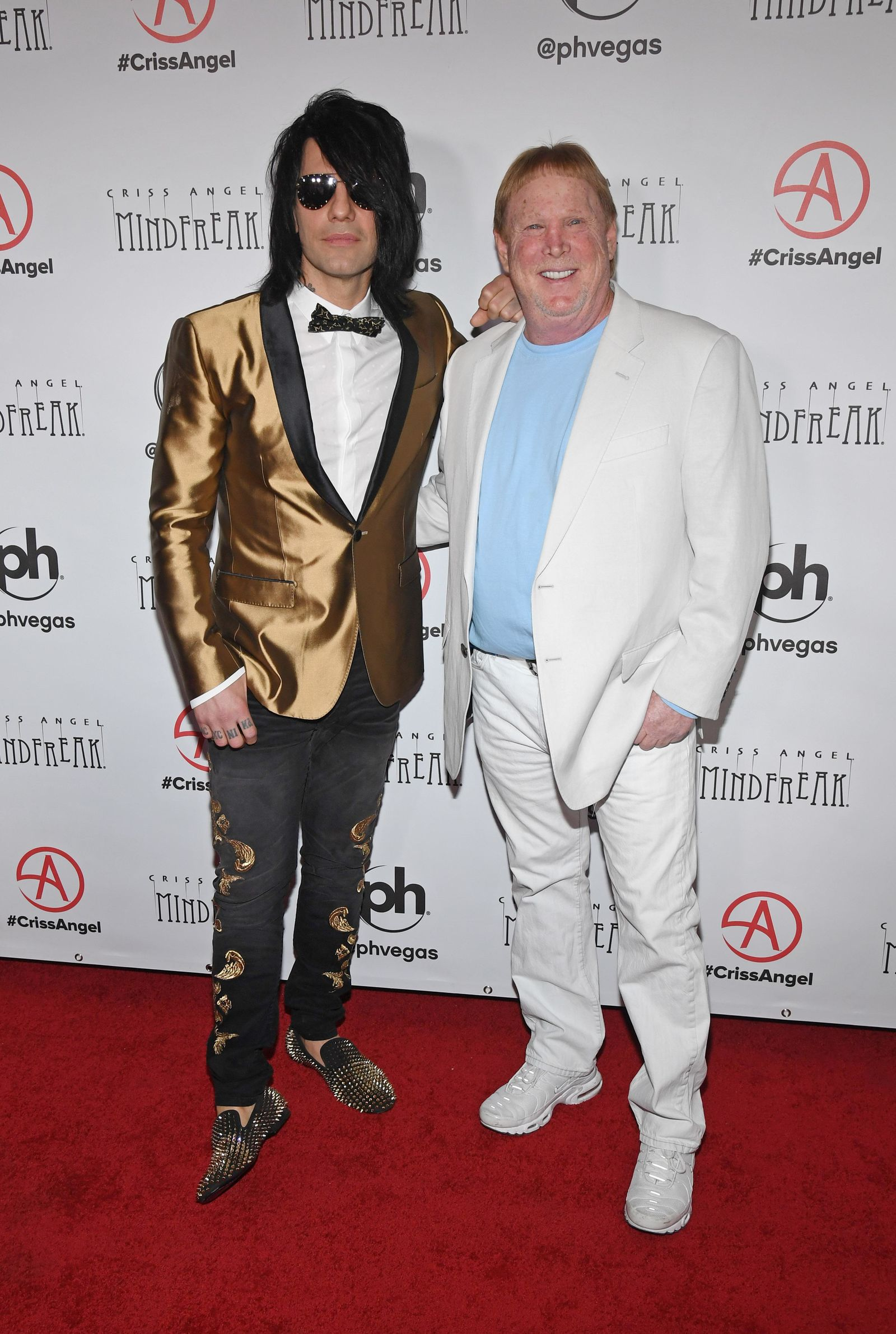 "LAS VEGAS, NEVADA - JANUARY 19:  Illusionist Criss Angel (L) and Oakland Raiders owner and managing general partner Mark Davis attend the grand opening of ""Criss Angel MINDFREAK"" at Planet Hollywood Resort & Casino on January 19, 2019 in Las Vegas, Nevada.  (Photo by Ethan Miller/Getty Images for Planet Hollywood Resort & Casino)"