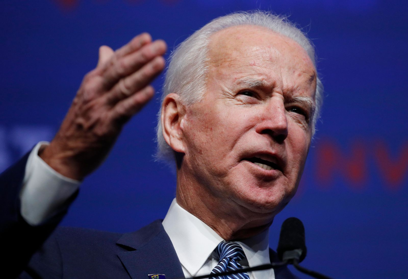 FILE- Former Vice President and Democratic presidential candidate Joe Biden speaks during a fundraiser for the Nevada Democratic Party, Sunday, Nov. 17, 2019, in Las Vegas. (AP Photo/John Locher)