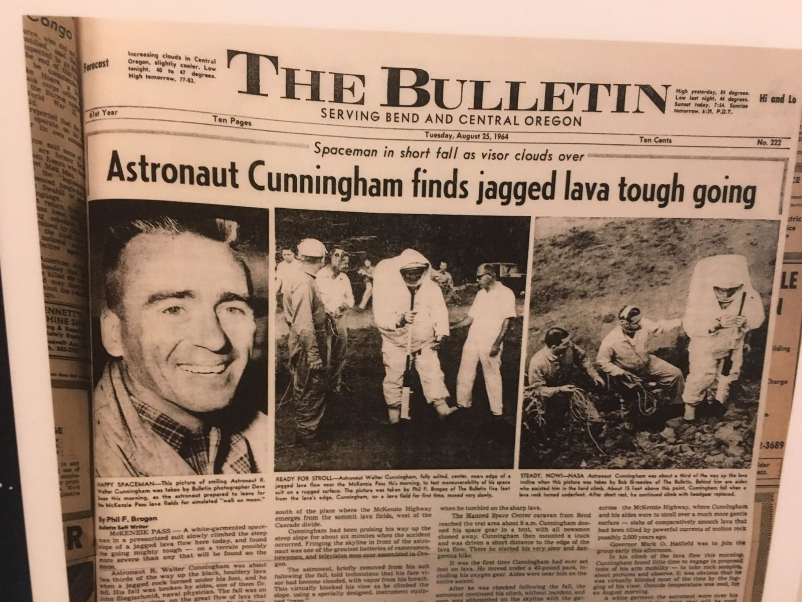 "High atop McKenzie Pass, astronaut Walt Cunningham fell - ripping his prototype spacesuit. The accident led to important improvements to the suits. ""Failure on the Earth,"" Wills said, ""is a lot better than failure on the moon."" (Moon Country exhibit at High Desert Museum)"