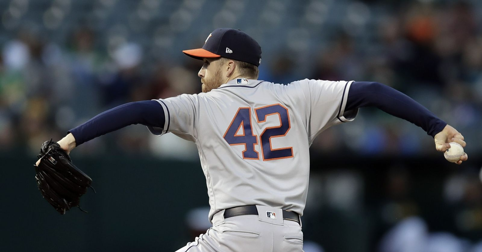 Houston Astros pitcher Collin McHugh works against the Oakland Athletics in the first inning of a baseball game, Tuesday, April 16, 2019, in Oakland, Calif. (AP Photo/Ben Margot)