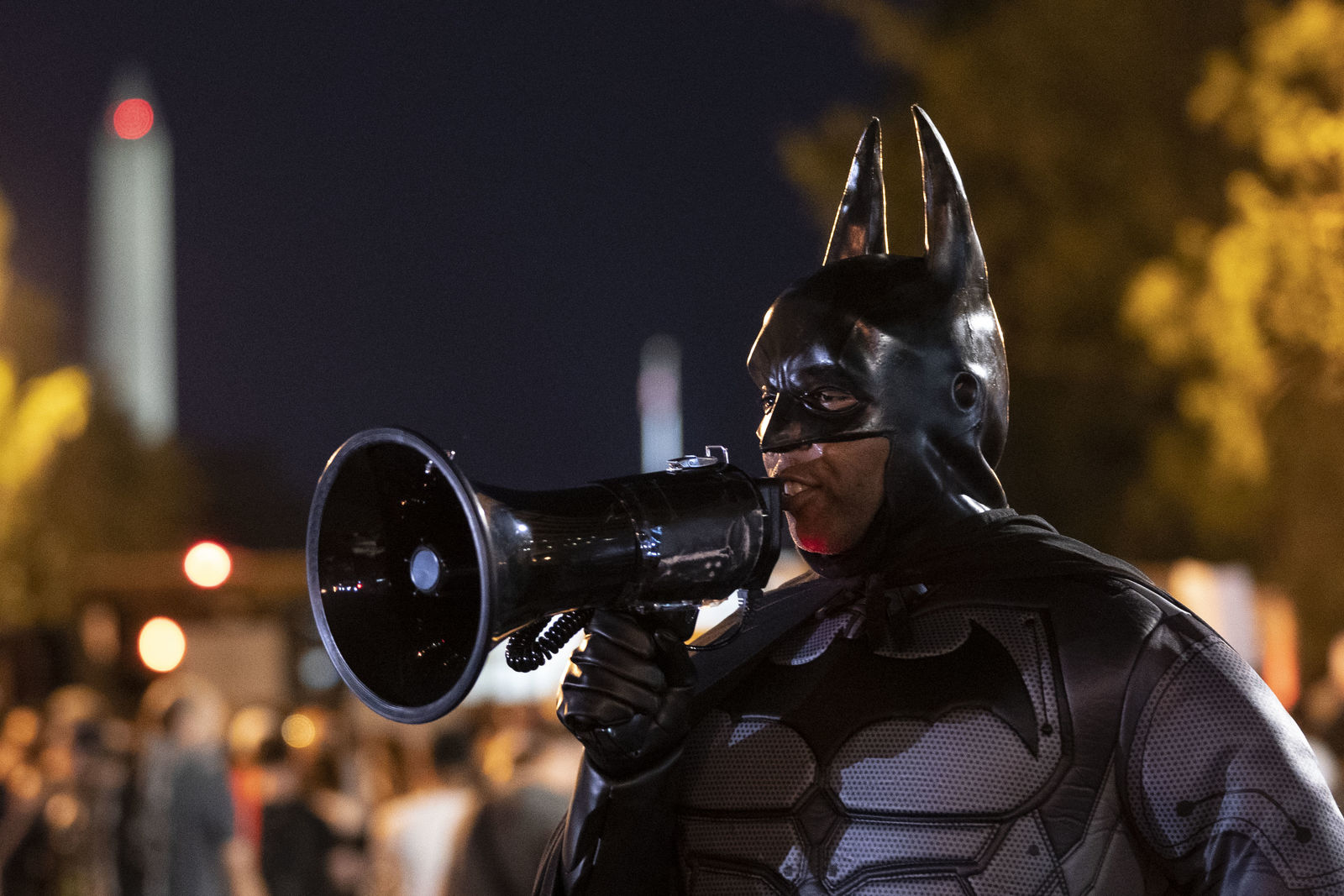 WASHINGTON, DC - JUNE 03: A man dressed as Batman joins the protest near Lafayette Park and the White House on June 3, 2020 in Washington, DC. Protests in cities throughout the country continue in the wake of the death of George Floyd, a black man who was killed in police custody in Minneapolis on May 25. (Photo by Drew Angerer/Getty Images)