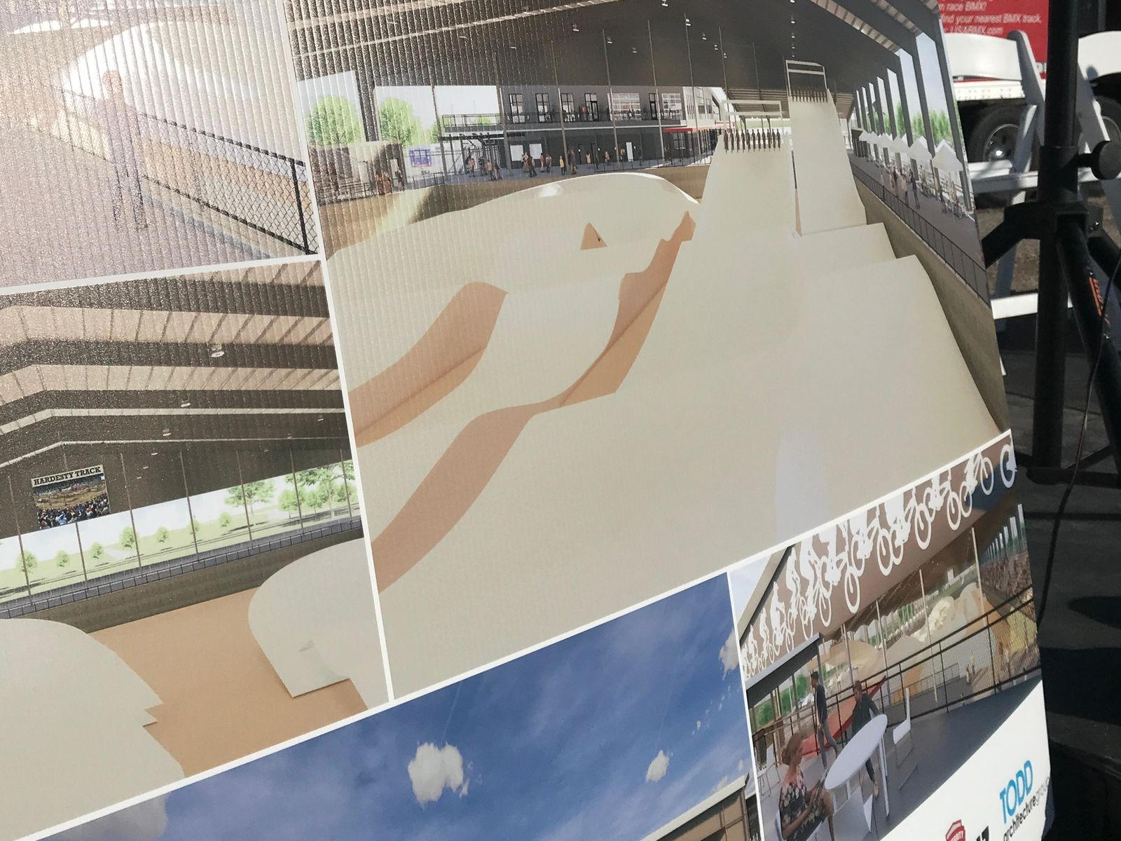 Designs are seen Friday, Nov. 15, 2019, during a groundbreaking ceremony for the new USA BMX headquarters, stadium and museum in Tulsa, Okla. (KTUL photo)
