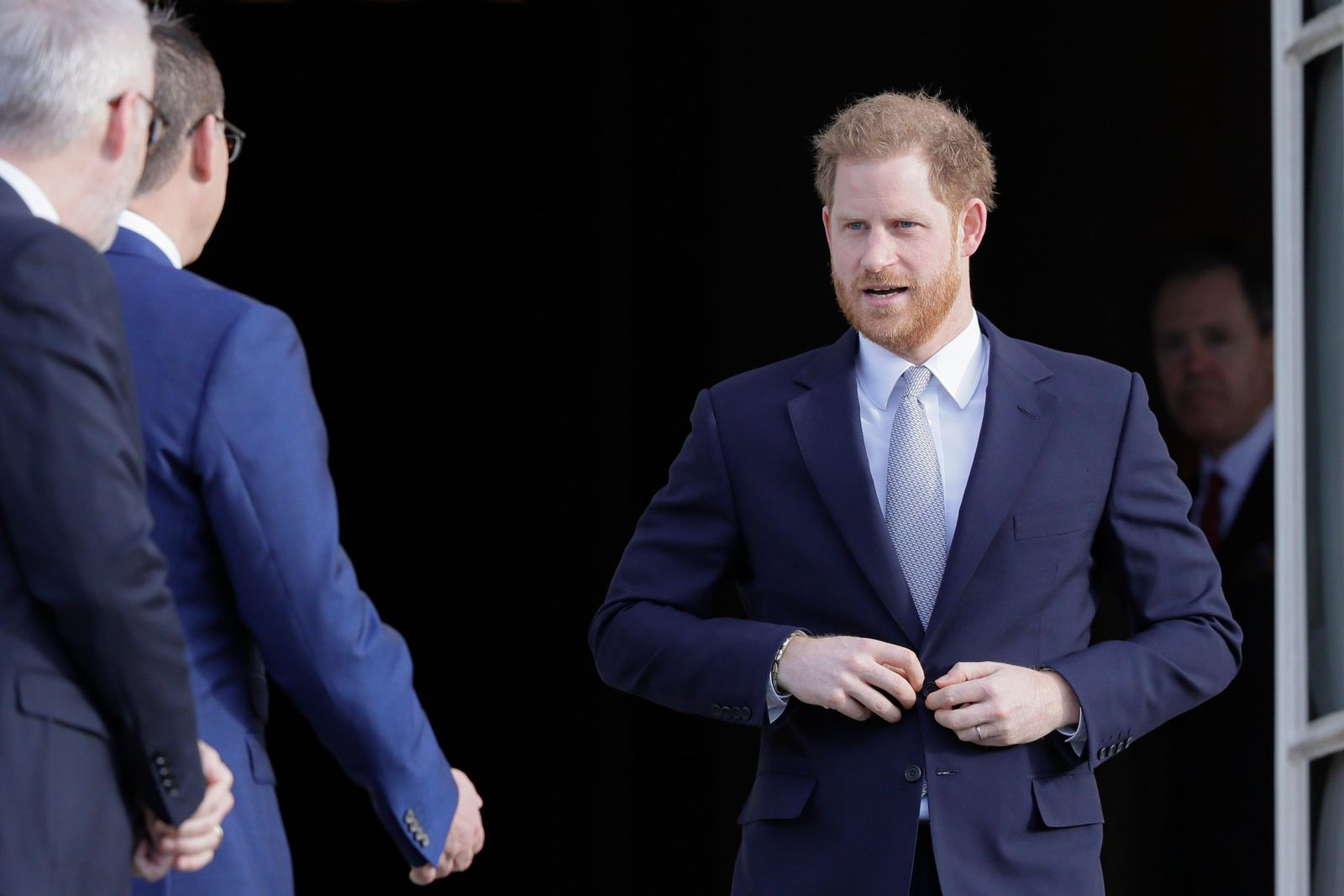 Britain's Prince Harry arrives at the gardens at Buckingham Palace in London, Thursday, Jan. 16, 2020. (AP Photo/Kirsty Wigglesworth)
