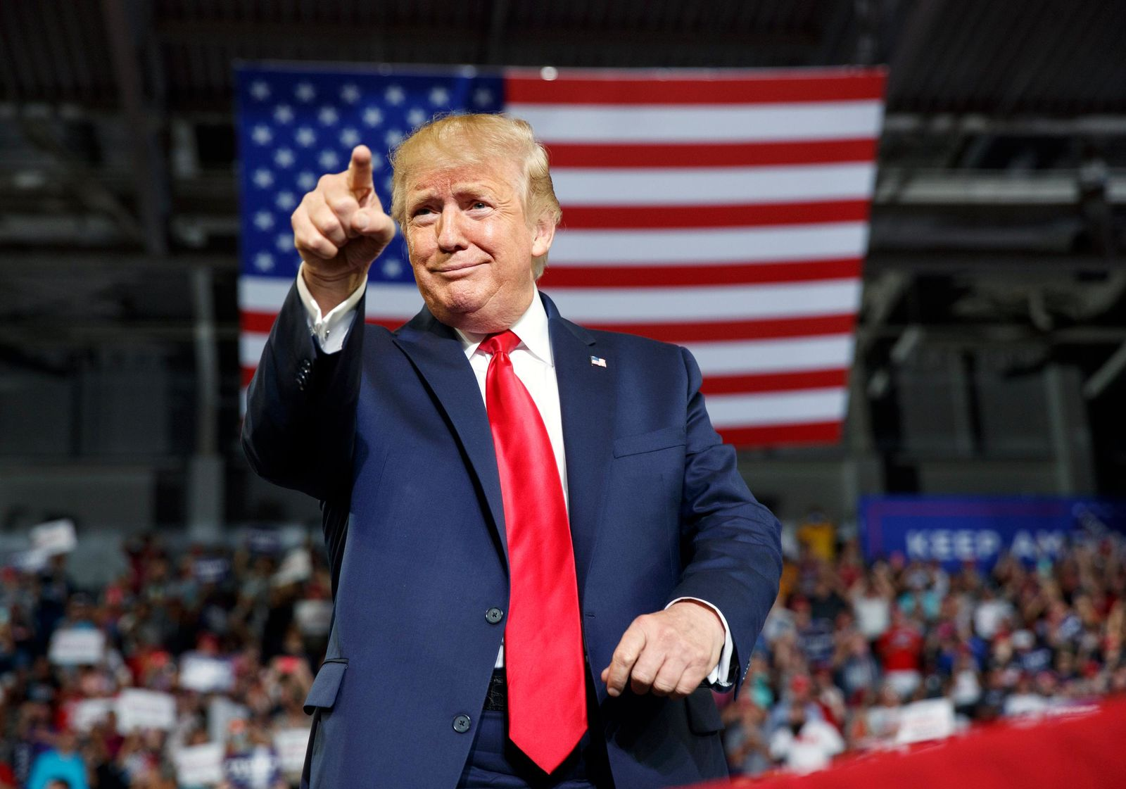President Donald Trump gestures to the crowd as he arrives to speak at a campaign rally at Williams Arena in Greenville, N.C., Wednesday, July 17, 2019. (AP Photo/Carolyn Kaster)