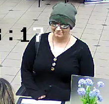 Security camera images of the woman who robbed the Oregon Community Credit Union on Chad Drive last month will be featured on the FBI's Unknown Bank Robbers page in an effort to generate tips to identify the woman.{ }Anyone with information is asked to submit a tip Eugene Police Department at (541) 682-5111. (FBI)