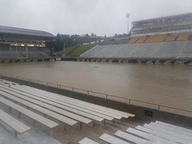 Inches of water collected on the field of the university's football stadium on Thursday, June 20, 2019, beckoning back to the flooding event that cancelled a game between the Broncos and the Akron Zips on Saturday, Oct. 14, 2017. (Courtesy: Rebecca Pavlak-Thiel)