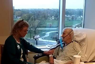 A singing nurse at Bronson Hospital lifted the spirits of a Portage man on hospice care by singing to his favorite song while he was receiving treatment in Bronson's cardiac unit. (WWMT/Courtesy)