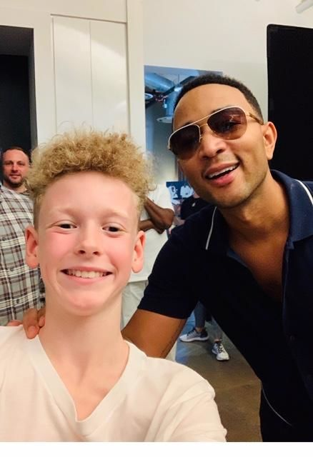 Maja's son Lukas on the set of John Legend Music Video