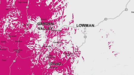 Screenshot showing T-Mobile's coverage map in Boise County<p></p>