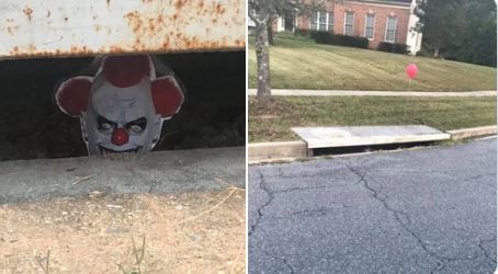 Pennywise appears in Poolesville neighborhood sewer drains. (Kevin Lewis/ABC7)