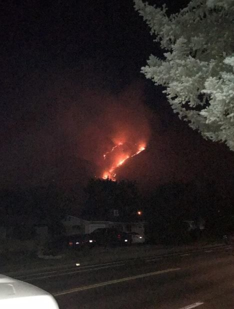 A new brush fire sparked close to structures in Utah County on Monday night. (Photo: Utah Fire Info)