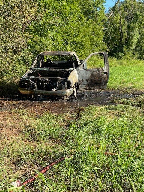 Officers are searching for the owner of this burnt truck. (OCSO)