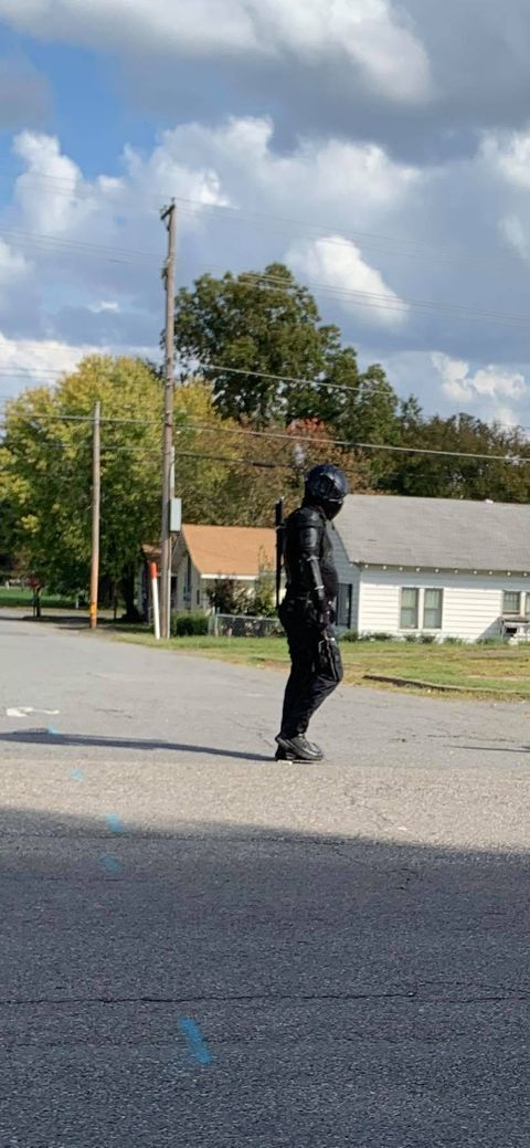 A man with ninja-style clothing and weapons walking in North Little Rock. Police said the man has been roaming the city for a few months and has a superhero-esque name for himself. Police said he does it for fun and is not a threat. (Photo courtesy of Dean Taylor){ }