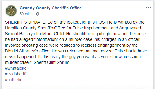 In a Wednesday night post, the sheriff's office called Jacky Wayne Bean a 'POS', and said this never should have happened. The post has since been edited. (Image: Grundy County Sheriff's Office Facebook page)