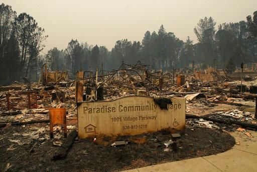 FILE- In this Tuesday, Nov. 13, 2018 file photo a sign stands at a community destroyed by the Camp fire in Paradise, Calif. Most homes are gone, as are hundreds of shops and other buildings. (AP Photo/John Locher, File)