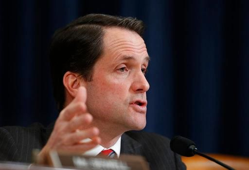 FILE - In this photo taken March 20, 2017, House Intelligence Committee member Rep. Jim Himes, D-Conn., questions FBI Director James Comey and National Security Agency Director Michael Rogers on Capitol Hill in Washington. (AP Photo/Manuel Balce Ceneta)