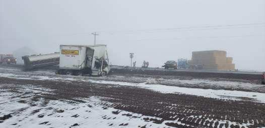 """Multiple crash on highway 26 west between Madras and Warm Springs. Roadway is VERY slick. Please avoid the area,"" the Jefferson Count Sheriff's Office said on Facebook. (JCSO)"