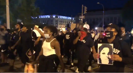 Protesters approach 15th and H in NW D.C. about 7:45 p.m. Wednesday, September 23, 2020. (Heather Graf)