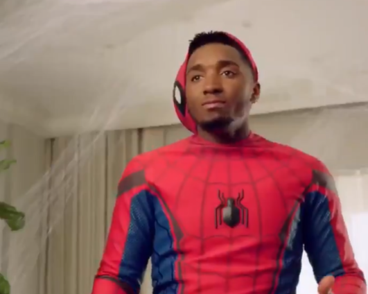 New ad shows mix-up between Donovan 'Spida' Mitchell and Tom 'Spider-Man' Holland. (Photo: Donovan Mitchell)