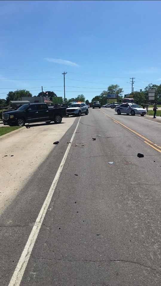The aftermath of a two-vehicle crash in Belle Sunday.