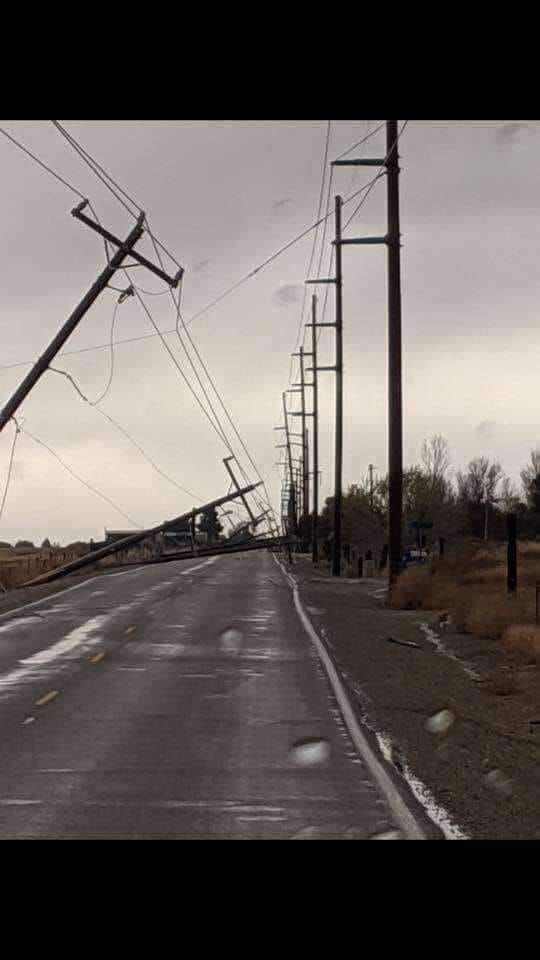 16 power poles are downed along Cloverdale Road in Kuna, Saturday afternoon. (Doug Mcgarva)<p></p>
