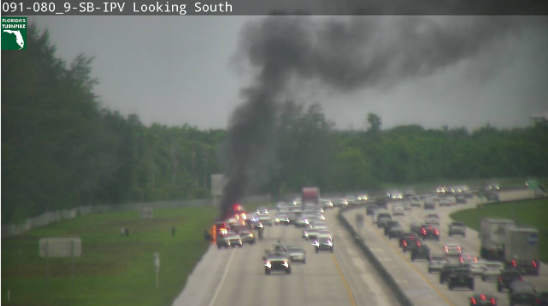 Vehicle fire shuts down northbound Turnpike lanes near Delray Beach. (FDOT)