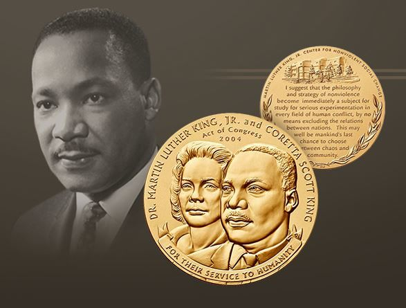 The United States Mint is releasing a 3-inch bronze medal dedicated to Dr. Martin Luther King Jr. and his wife Coretta Scott King. (Courtesy: United States Mint)