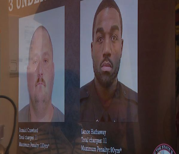 Some of the corrections officers named in the indictment (as shown during news conference)