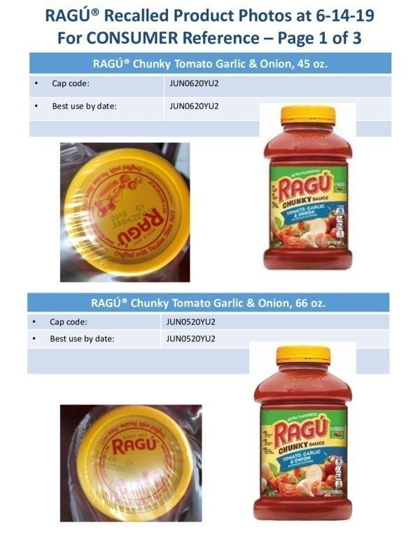 RAGÚ® Recalled Product Photos at 6-14-19For CONSUMER Reference (PRNewsfoto/Mizkan America, Inc.)