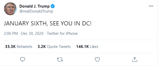 President Trump tweet about Jan. 6 protests.{ }