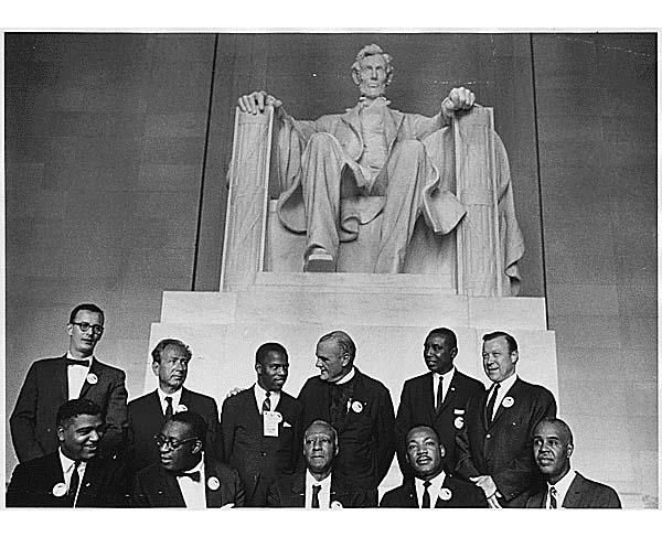 Civil Rights March on Washington, D.C. [Leaders of the march posing in front of the statue of Abraham Lincoln, Lincoln Memorial.], 08/28/1963 Courtesy: National Archives