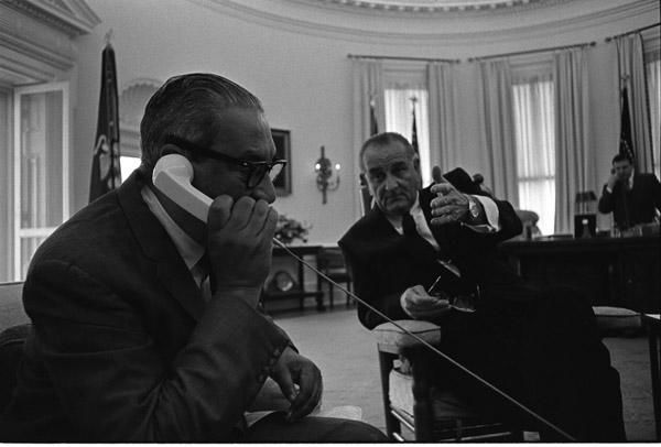President Lyndon B. Johnson Meeting with Thurgood Marshall, the first black Supreme Court Justice. Courtesy: National Archives
