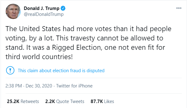 President Trump tweet about election fraud on December 30.{ }
