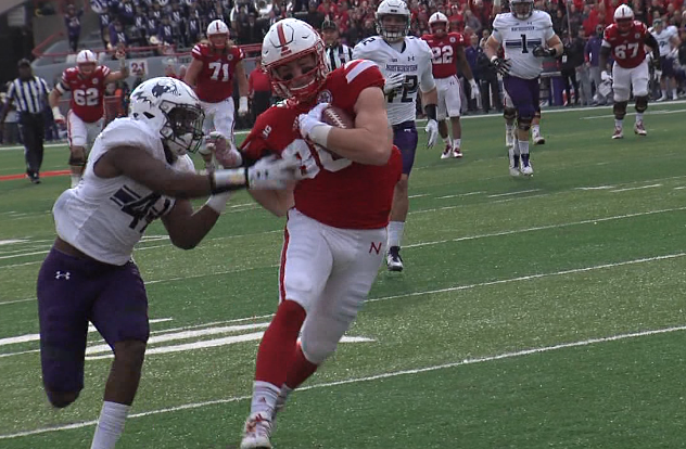 Nebraska tight end Jack Stoll (86) rips away from a tackle before ultimately scoring a touchdown against Northwestern, Nov. 4, 2017 (KHGI)