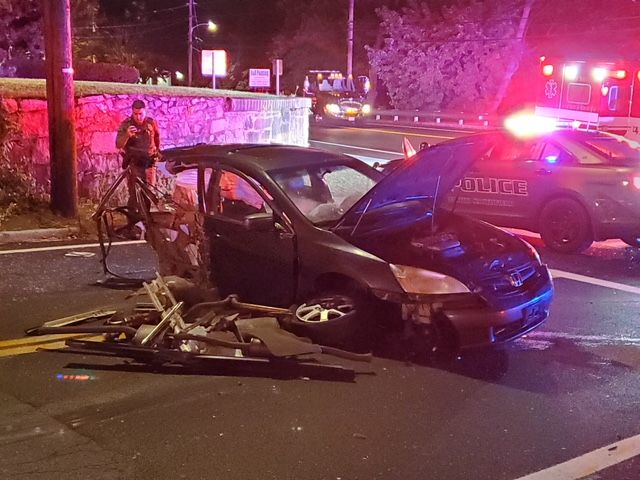 A car that struck North Smithfield Police Department was split in half, Wednesday, Sept. 18, 2019. (WJAR)<p></p>