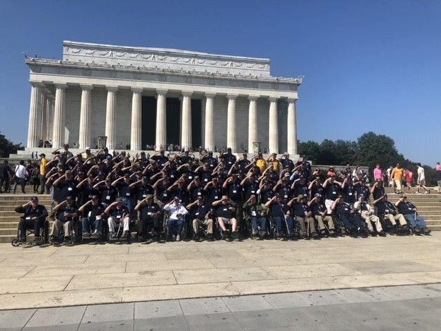 About 100 area veterans visited Washington, D.C. and the many memorials that pay tribute to their service.{ }Photo credit: Hannah Watts