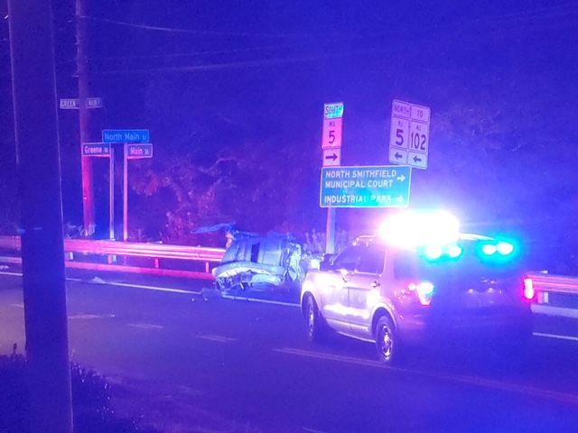 A car that struck North Smithfield Police Department was split in half, Wednesday, Sept. 18, 2019. (WJAR)