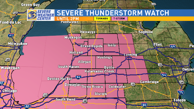Southwest Michigan counties were under a severe thunderstorm watch from 10 a.m. to 2{ } p.m. Sunday, Aug. 18, 2019. The watch was canceled about an hour early by the National Weather Service. (WWMT/Will Haenni)
