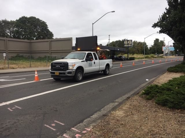 """The traffic impacts are significant here,"" Joe Harwood with the Eugene Water & Electric Board said. ""People should avoid the intersection of Hilyard and East Broadway. It's restricted in all directions."" (SBG)"