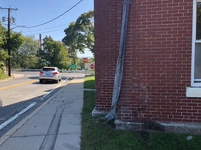 North Smtihfield police said a speeding car crashed into Town Hall. (WJAR)
