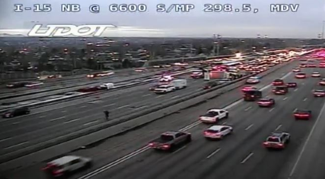 Crash closes 4 lanes of traffic on I-15 southbound in Midvale (Photo: UDOT / screengrab)