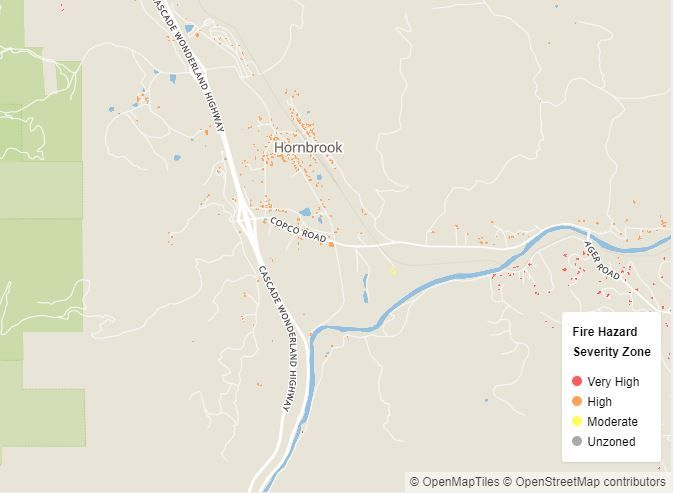 A new project by UCLA Geospatial shows the fire danger in Hornbrook, CA. (UCLA)