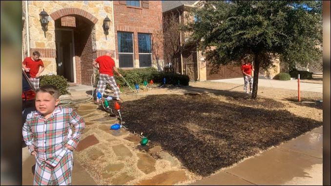 Boy burns family's lawn on Christmas. (CNN Newsource)