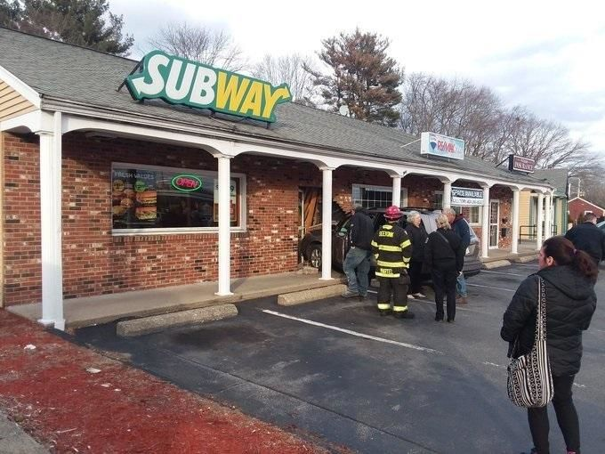 Seekonk police responded to the Subway on Central Avenue after a car crashed into the front door. (Courtesy of Frank Bellotti)<p></p>