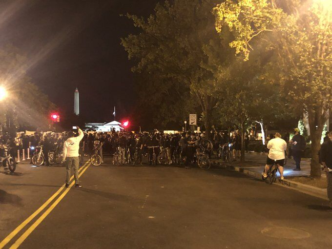 Protesters continued to gather Wednesday evening in the District after the grand jury's decision in the Breonna Taylor case. (Heather Graf, ABC7)